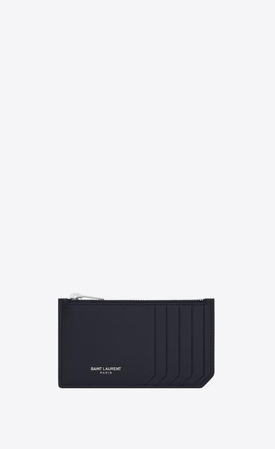 SAINT LAURENT Saint Laurent Paris SLG U classic saint laurent paris 5 fragments zip pouch in navy blue grain de poudre textured leather a_V4