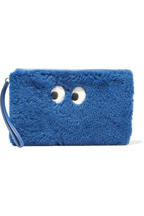 ANYA HINDMARCH Ghost leather-trimmed shearling pouch