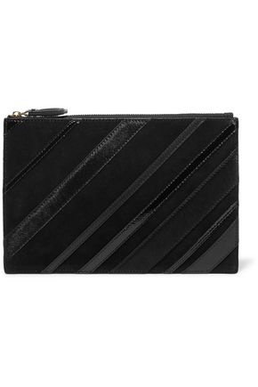DIANE VON FURSTENBERG Suede and calf hair-trimmed leather pouch