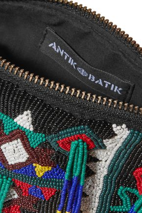 ANTIK BATIK Beaded canvas wallet