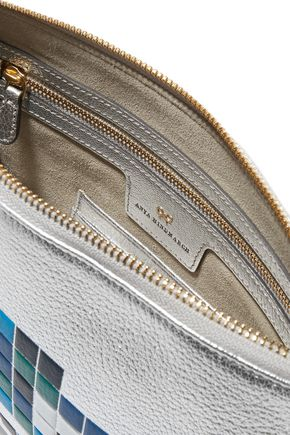 ANYA HINDMARCH Georgiana embossed metallic textured-leather pouch