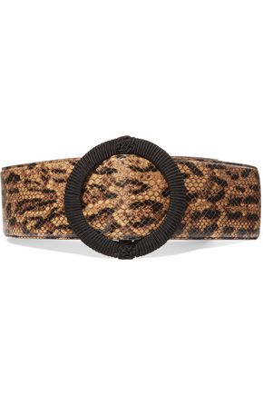 SAINT LAURENT Python-effect leather waist belt