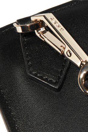DKNY Paneled pleated leather clutch