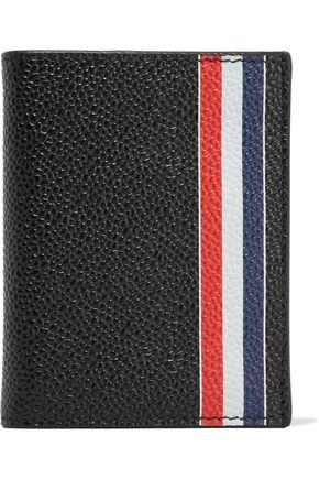 THOM BROWNE Striped textured-leather wallet
