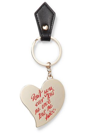 VIVIENNE WESTWOOD ANGLOMANIA Gold-tone enamel and leather keychain