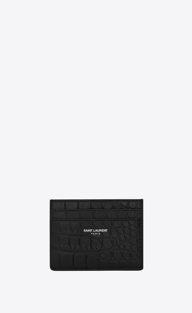 SAINT LAURENT Saint Laurent Paris SLG U classic saint laurent paris card case in black crocodile embossed leather a_V4