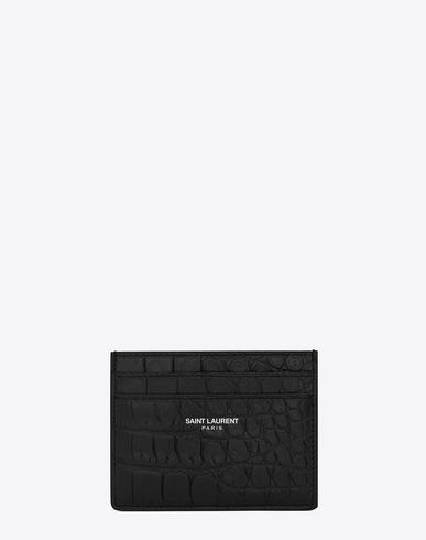 7892874f29f3 SAINT LAURENT. Saint Laurent Paris Card Case In Black Crocodile Embossed  Leather