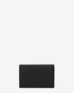 SAINT LAURENT Fragments Piccola Pelletteria U portafogli classic fragments con patta frontale nero in pelle e nero con bordo lucido f
