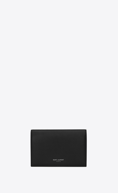 SAINT LAURENT Fragments Small Leather Goods U classic fragments flap wallet in black leather and black shiny trim a_V4
