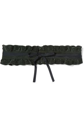 MAJE Grosgrain-trimmed perforated faux suede waist belt