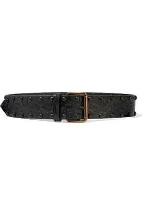 WOMAN STUDDED EMBOSSED LEATHER BELT BLACK