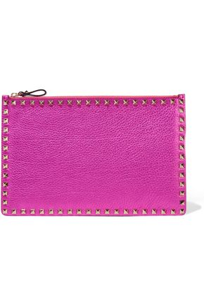 VALENTINO Rockstud metallic textured-leather pouch
