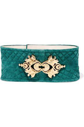 BALMAIN Embellished quilted suede waist belt