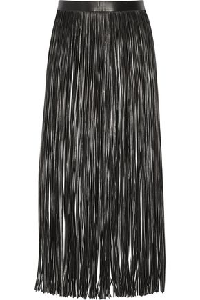VALENTINO GARAVANI Fringed leather skirt