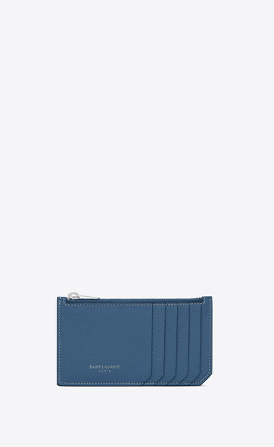 SAINT LAURENT Saint Laurent Paris SLG D 5 FRAGMENTS zip pouch in denim blue grained leather a_V4