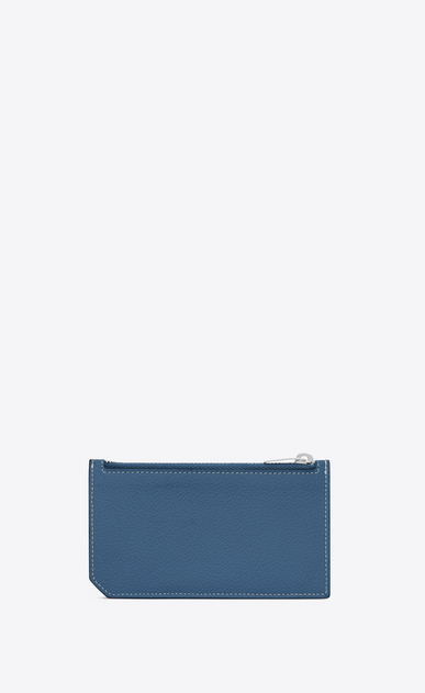 SAINT LAURENT Saint Laurent Paris SLG D 5 FRAGMENTS zip pouch in denim blue grained leather b_V4