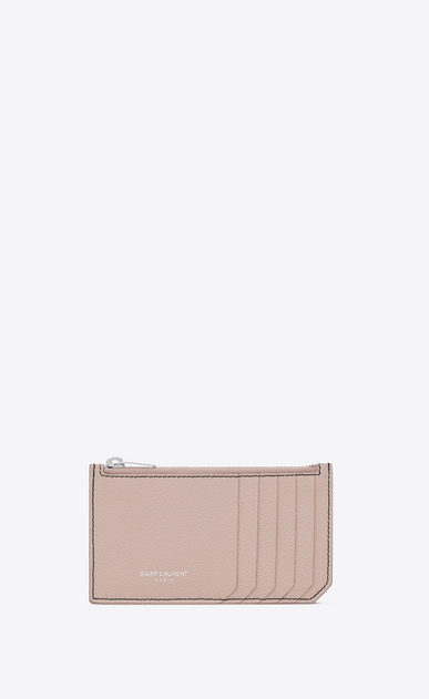 SAINT LAURENT Saint Laurent Paris SLG Woman fragments zip pouch in pink grained leather a_V4