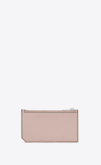 SAINT LAURENT Saint Laurent Paris SLG Woman 5 FRAGMENTS zip pouch in pink grained leather b_V4
