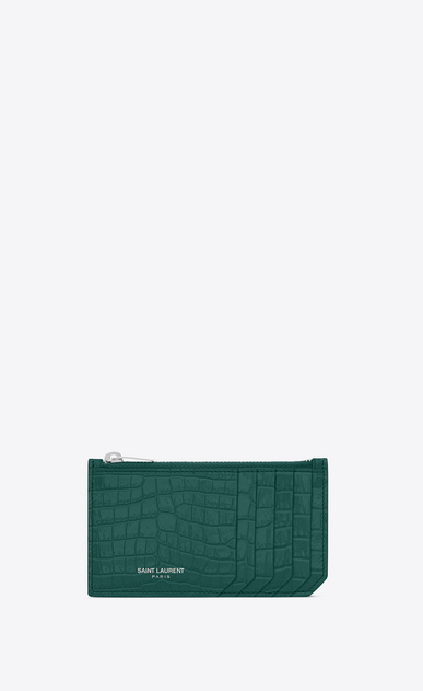 SAINT LAURENT Saint Laurent Paris SLG D 5 FRAGMENTS zip pouch in water green crocodile embossed shiny leather a_V4