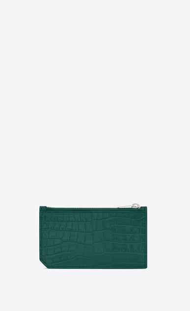 SAINT LAURENT Saint Laurent Paris SLG D 5 FRAGMENTS zip pouch in water green crocodile embossed shiny leather b_V4