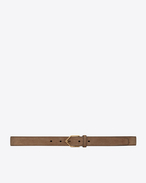 SAINT LAURENT Skinny Belts D Triangle-buckle belt in light beige suede f