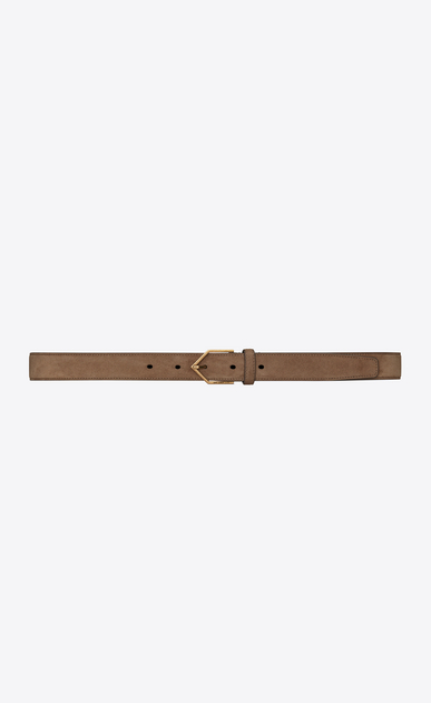 SAINT LAURENT Skinny Belts Woman Triangle-buckle belt in light beige suede a_V4
