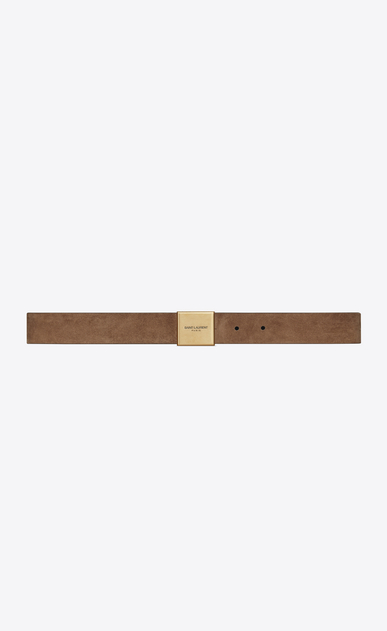 SAINT LAURENT Medium Belt D BELLECHASSE buckle belt in light beige suede a_V4