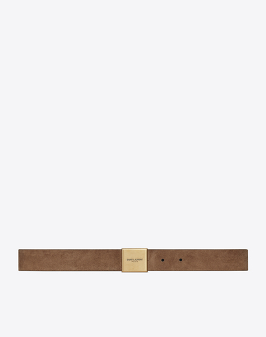 BELLECHASSE BUCKLE BELT IN LIGHT BEIGE SUEDE