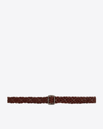SAINT LAURENT Skinny Belts D Plaited stud belt with porthole buckle in brown leather f