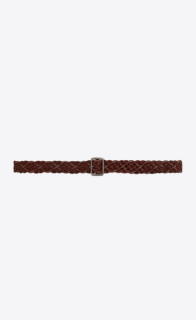 SAINT LAURENT Skinny Belts Woman Plaited stud belt with porthole buckle in brown leather a_V4