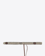 SAINT LAURENT Skinny Belts D Plaited and knotted belt in brown leather and white enamel f