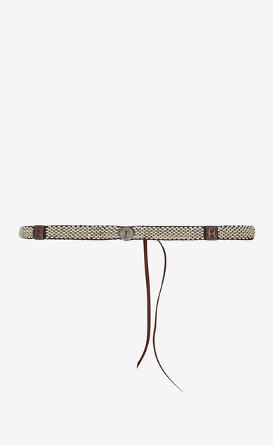 SAINT LAURENT Skinny Belts Woman Plaited and knotted belt in brown leather and white enamel a_V4