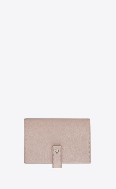 SAINT LAURENT Sac de jour SLG Woman SAC DE JOUR SOUPLE thin compact wallet in pink grained leather a_V4