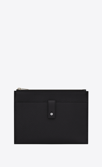 SAINT LAURENT Sac de jour SLG Woman sac de jour souple tablet case in black grained leather a_V4