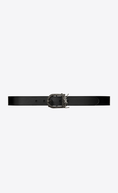 SAINT LAURENT Medium Belt Woman Berber MONOGRAMME belt in black leather a_V4