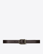 SAINT LAURENT Medium Belt D Berber MONOGRAMME belt in brown leather f