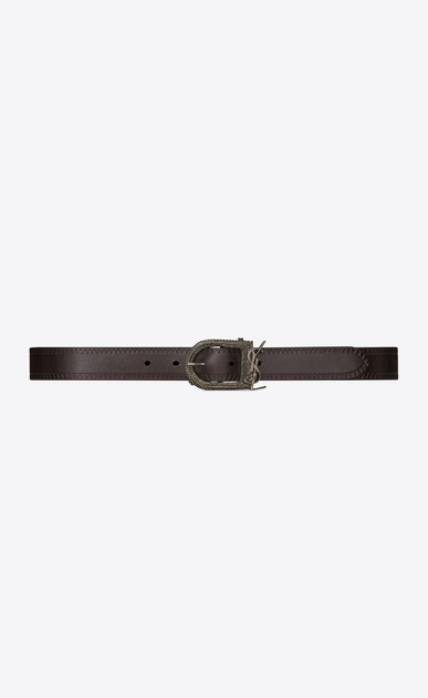 SAINT LAURENT Medium Belt Woman Berber MONOGRAMME belt in brown leather a_V4