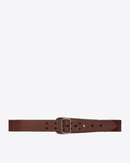 SAINT LAURENT Medium Belt D Military belt with porthole buckle in dark brown leather f