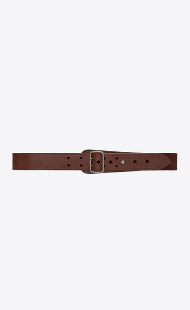 SAINT LAURENT Medium Belt D Military belt with porthole buckle in dark brown leather a_V4