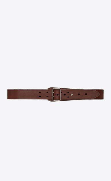 SAINT LAURENT Medium Belt D Military belt with porthole buckle in dark brown leather v4