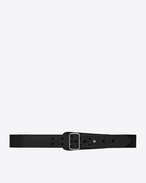 SAINT LAURENT Medium Belt D Military belt with porthole buckle in black leather f