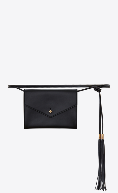 SAINT LAURENT Belt Bags D ENVELOPE belt bag in black leather a_V4