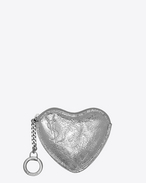 SAINT LAURENT Key Ring D LOVE key holder case in platinum-colored crinkled leather f