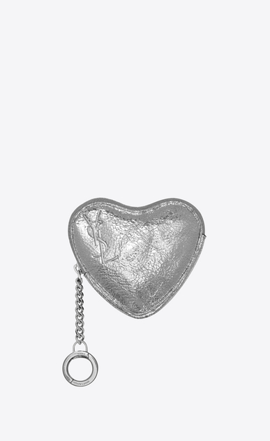 SAINT LAURENT Key Ring Woman LOVE key holder case in platinum-colored crinkled leather a_V4