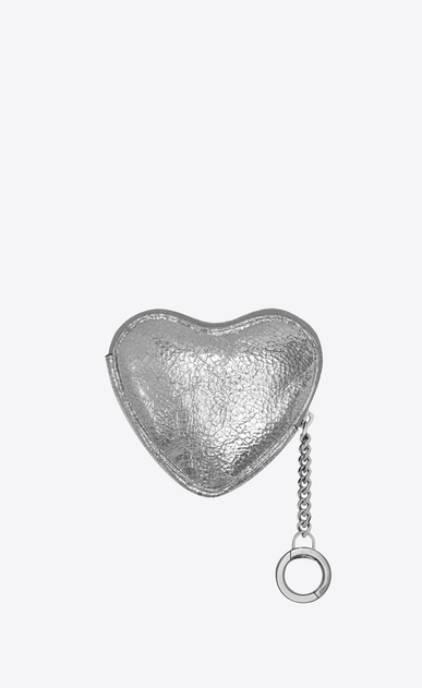 SAINT LAURENT Key Ring Woman LOVE key holder case in platinum-colored crinkled leather b_V4