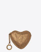 SAINT LAURENT Key Ring D LOVE key holder case in bronze-colored leather f