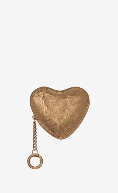 SAINT LAURENT Key Ring Woman LOVE key holder case in bronze-colored leather a_V4