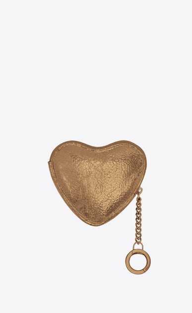 SAINT LAURENT Key Ring Woman LOVE key holder case in bronze-colored leather b_V4