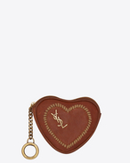 SAINT LAURENT Key Ring D LOVE key holder case in vintage cognac leather f