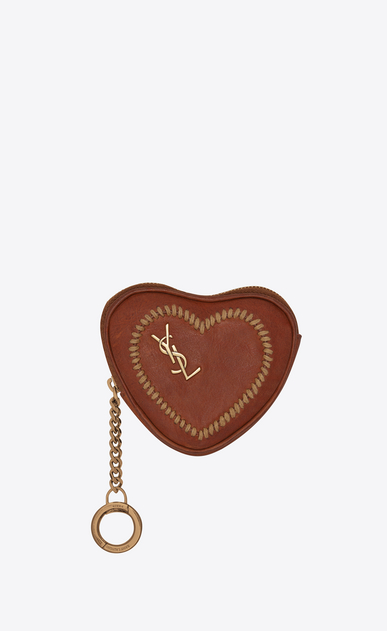 SAINT LAURENT Key Ring Woman LOVE key holder case in vintage cognac leather a_V4